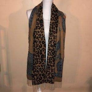 100% Cashmere Scarf & Wrap Paisley and leopard